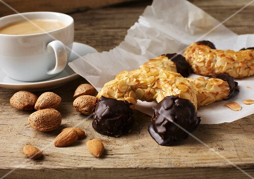 Almond pastries served with a cup of coffee