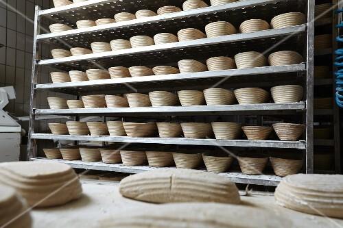 Bread baskets in a bakery