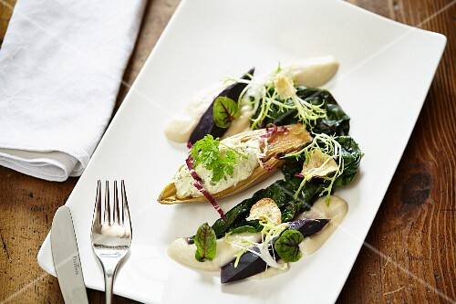 Chicory filled with cream cheese, colourful chard and Jerusalem artichoke cream