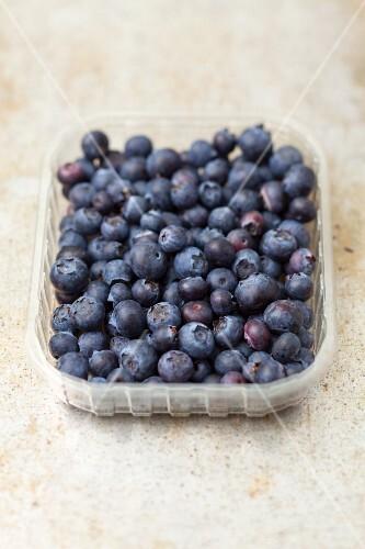 Blueberries in plastic punnet