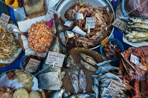 Salted fish at a fish market in Thailand