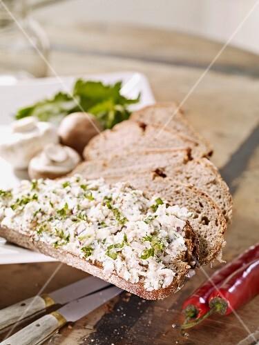 Sliced rye bread with a mushroom spread