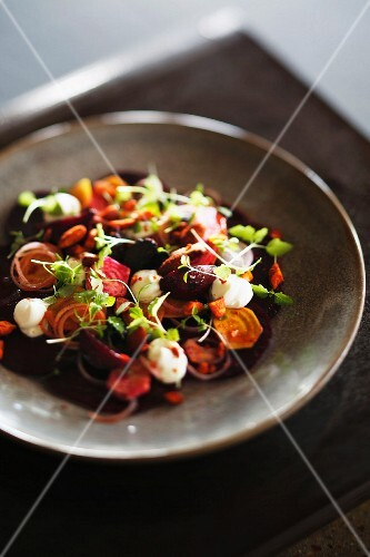 Root vegetable salad with mozzarella balls