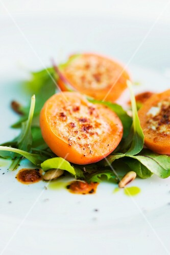 Ricotta apricots on a bed of lettuce