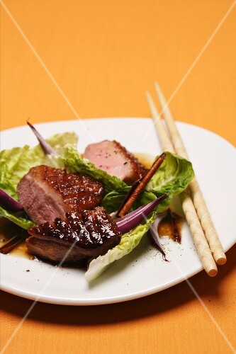 Roasted duck breast with a cinnamon sauce