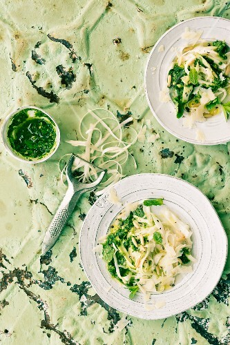 Asparagus tagliatelle with mint pesto and pine nuts