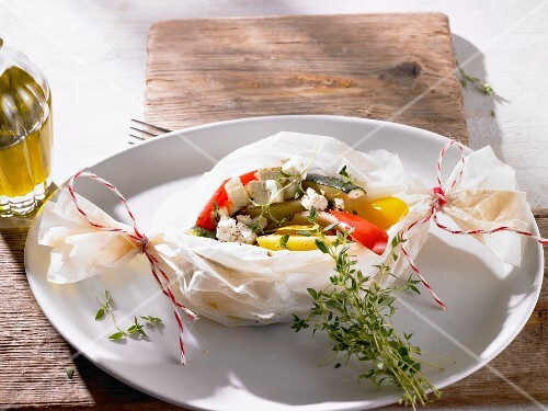 Vegetables packages with feta cheese