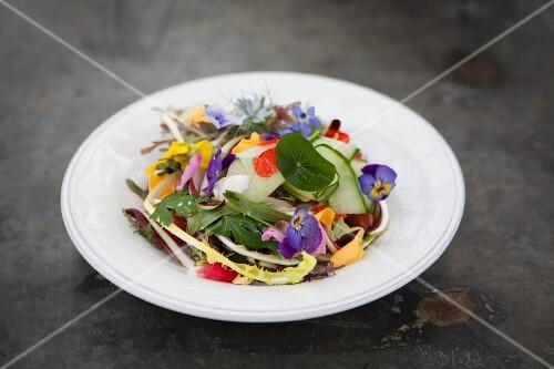 A summer edible flower salad