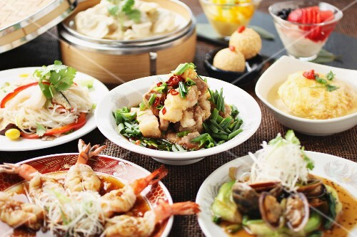 Various dishes at a Chinese buffet