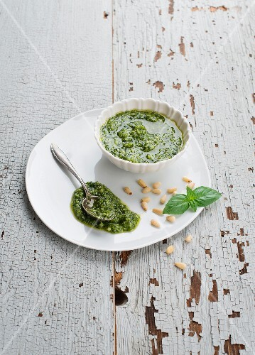Pesto in a White Bowl; Spilling Over the Side; Spoon