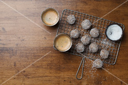 Chocolate nut truffles with coconut