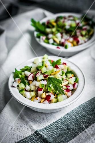 Vegetable salad on a tea towel