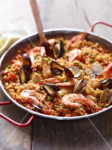 Paella with prawns, mussels and fish