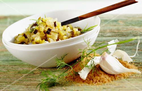 Cucumber and courgette relish with garlic