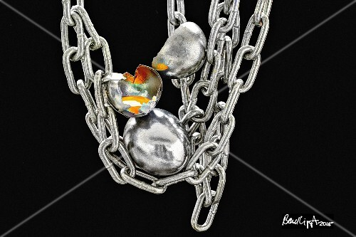 Silver eggs with a chain