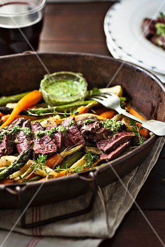 Venison with roast vegetables and a walnut pesto