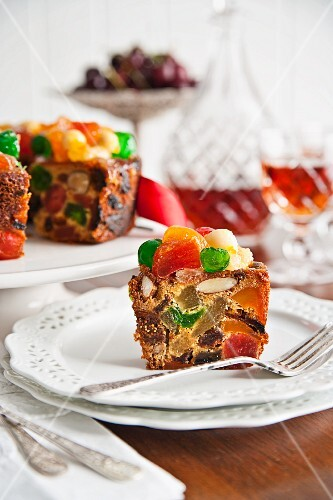 Glazed fruit Christmas cake with cherries and sherry
