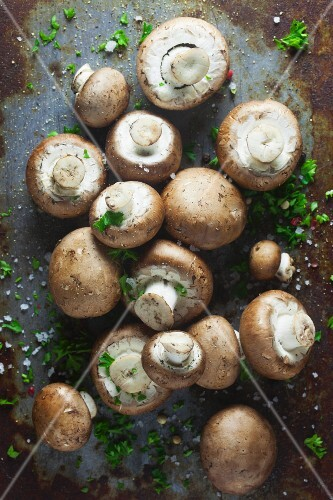 Brown mushrooms with parsley, pepper and salt on a metal surface