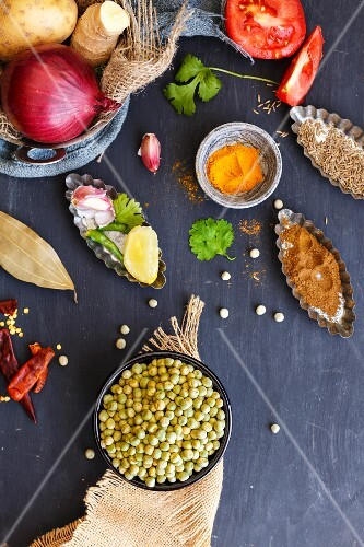 Ingredients for ghugni (Indian pea curry)