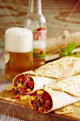 Burritos with minced meat, sweetcorn and peppers