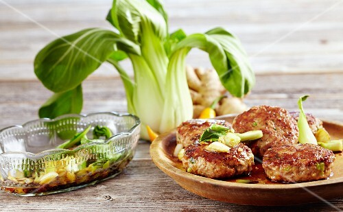 Ginger fritters with bok choy