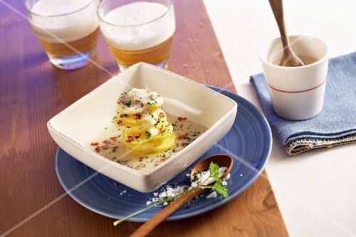 Alaskan potato salad with bacon and onions