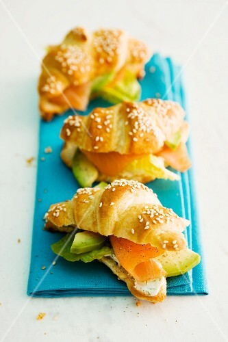 Croissants with salmon and avocado