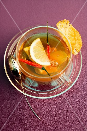 Spicy tea with ginger and chilli