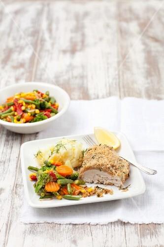 Chicken Kiev with vegetables, Ukraine