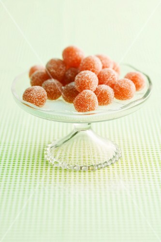 Quince balls on a cake stand