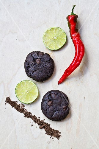 Vegan chilli and lime chocolate biscuits