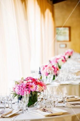 Tables at wedding venue