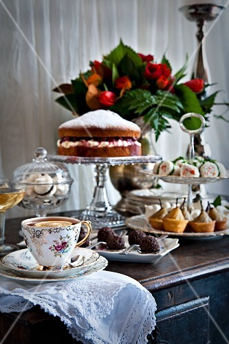 Cake, biscuits and canapés for afternoon tea
