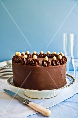 A chocolate and hazelnut cream cake on a cake stand