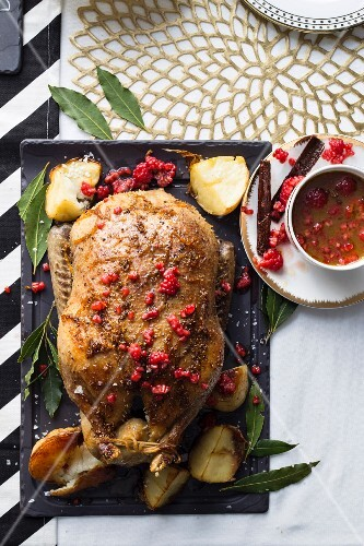 Roast duck with a spicy orange and raspberry sauce (seen from above)