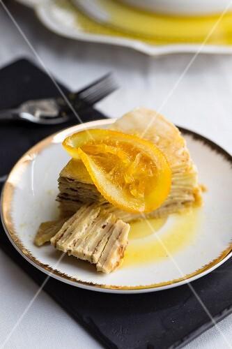 A slice of Crepe suzette pancake cake (Christmas)