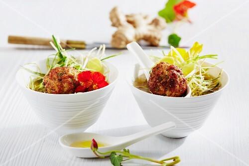 Chicken meatballs with nasturtium cress