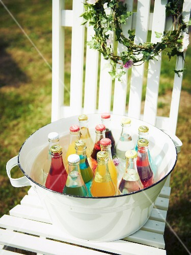 Chilled drinks in an enamel tub for a mid-summer festival