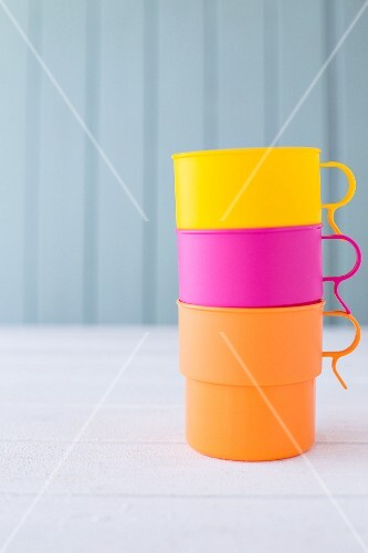Coloured paper cups, stacked