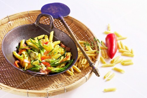 Garganelli with puntarelle chicory and peppers