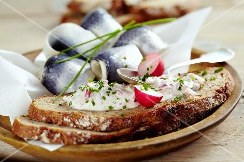 Herring bread with radish cream