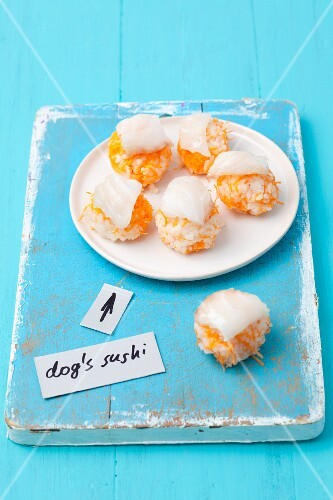 Cod sushi for dogs with rice and carrots