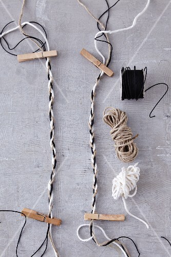 Homemade woven strings for tying Christmas presents