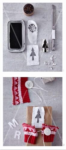 Homemade wrapping for Christmas presents