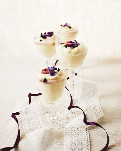 White chocolate mousse with violet syrup