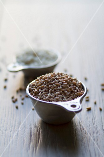 Grains of cereal and rice in cups