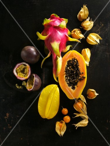 Exotic fruit on a black surface