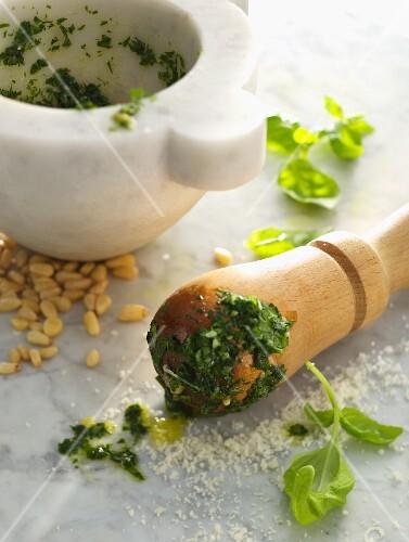 Basil pesto and ingredients