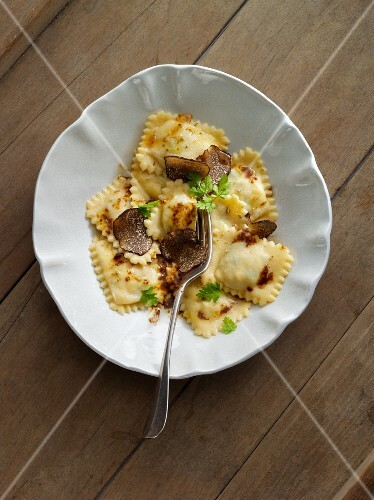 Ravioli with brown butter and truffles