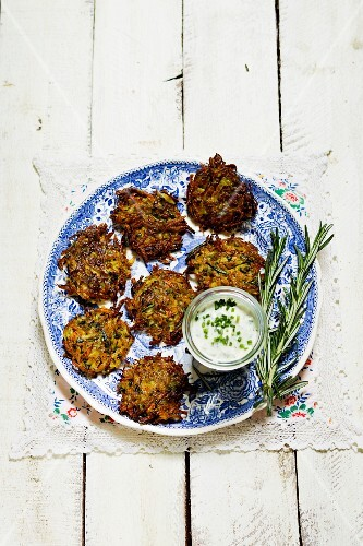 Rosemary potato fritter with chive yoghurt